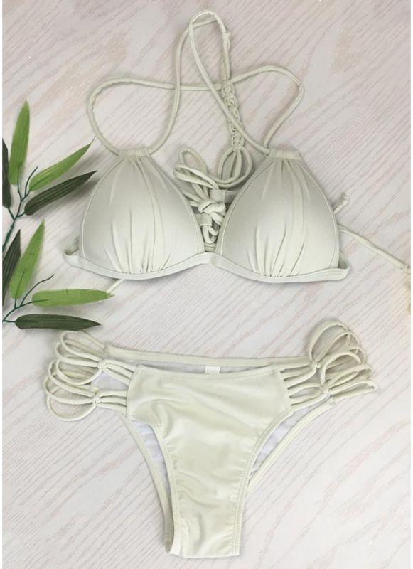Women Solid Triangle Lace Up Bandage Strappy Braided Padded Backless Bikini Set