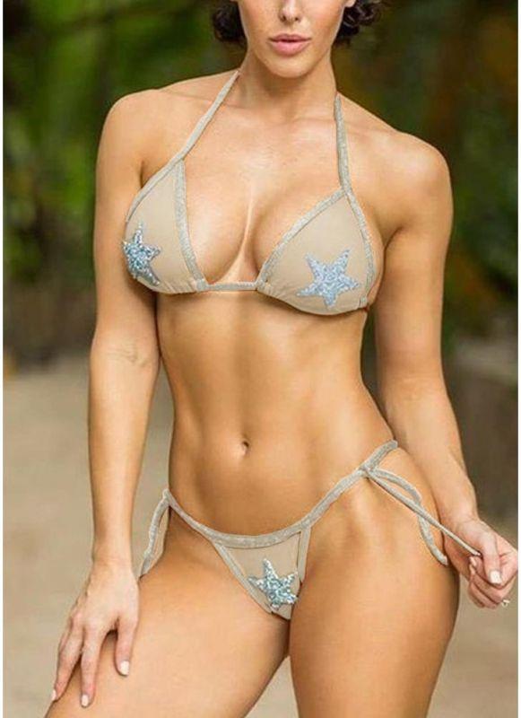 Women Bikini Set Sequined Stars Tied Waist Padded Two Pieces Swimsuit Swimwear