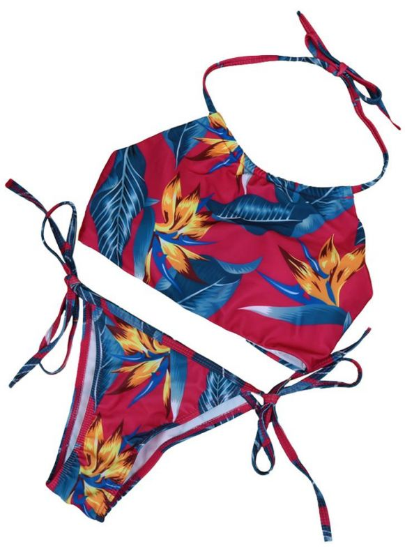 Floral Print Halter Wireless Padded Two Piece Sexy Bikini Set Swimwear