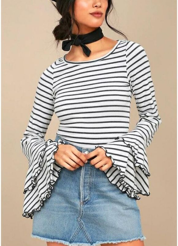 Women Stripe T-shirt Flare Sleeve Round Neck Layer Tops Blouse