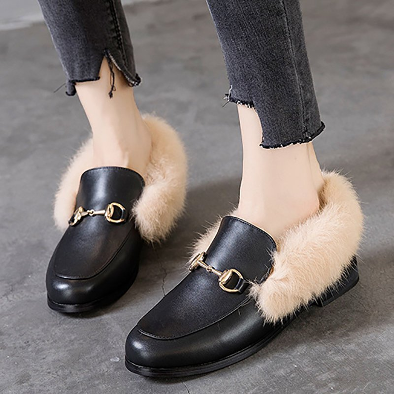 Chunky Heel Round Toe Casual Loafers