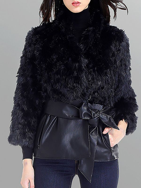 Black Casual Paneled Faux Fur Solid Fur and Shearling Coat