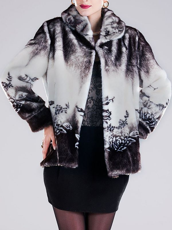 Floral-print Ombre/Tie-Dye Fur and Shearling Coat