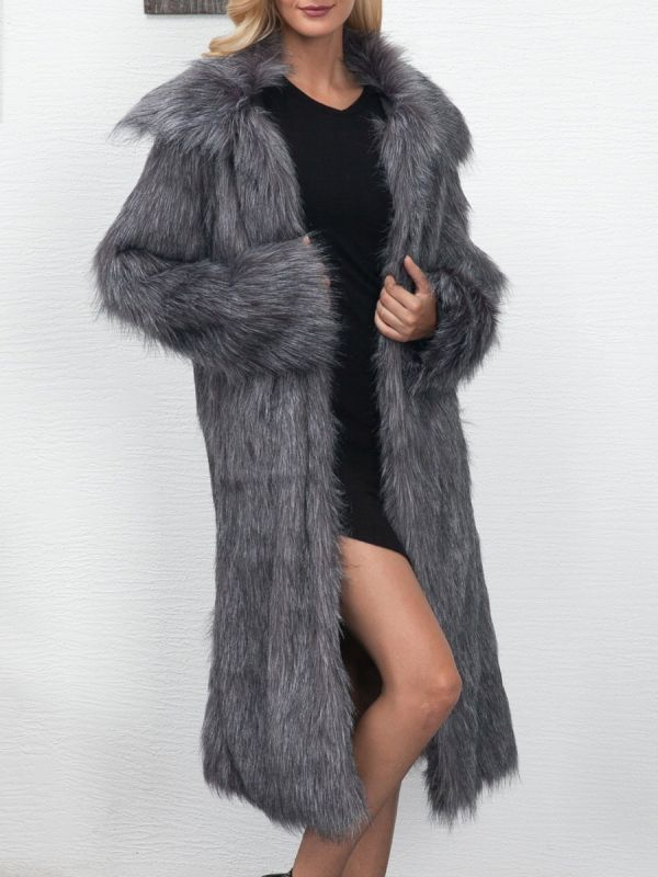Long Sleeve Solid Crew Neck Fluffy  Fur and Shearling Coat