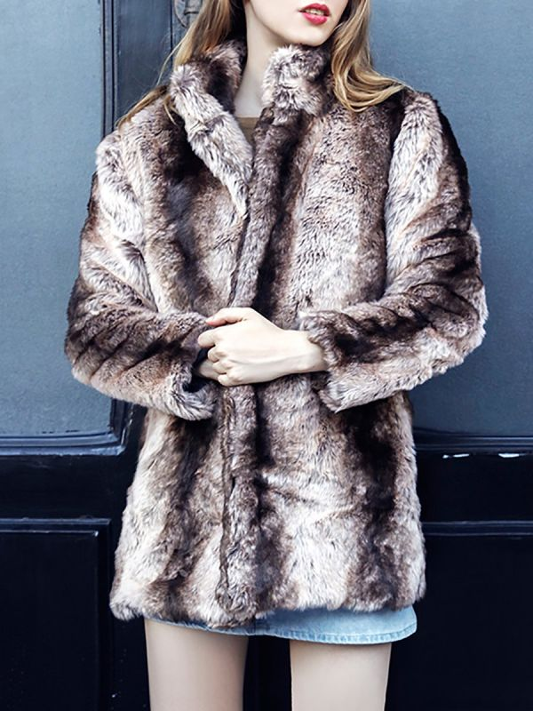 Yellow Long Sleeve Shift Fur and Shearling Coat