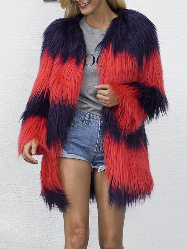 Casual Solid Color-block Fluffy Fur and Shearling Coat