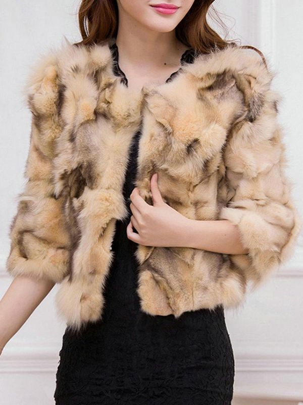 Shift 3/4 Sleeve Casual Fluffy Fur and Shearling Coat
