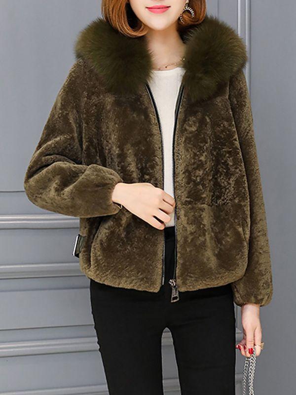 Pockets Zipper Hoodie Fluffy Fur and Shearling Coat