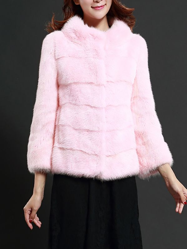 Pink Solid Stand Collar Buttoned Fluffy  Fur and Shearling Coat