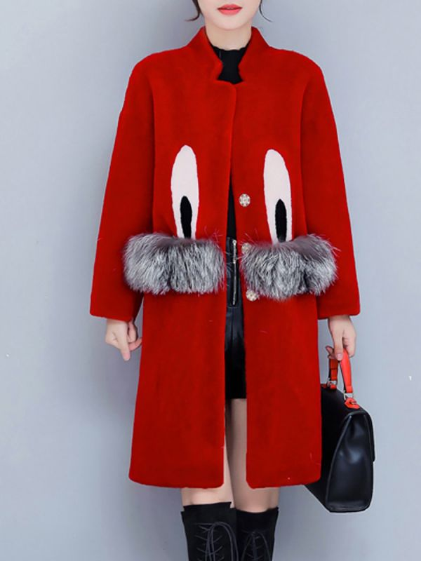 Pockets Fluffy Buttoned Fur and Shearling Coat