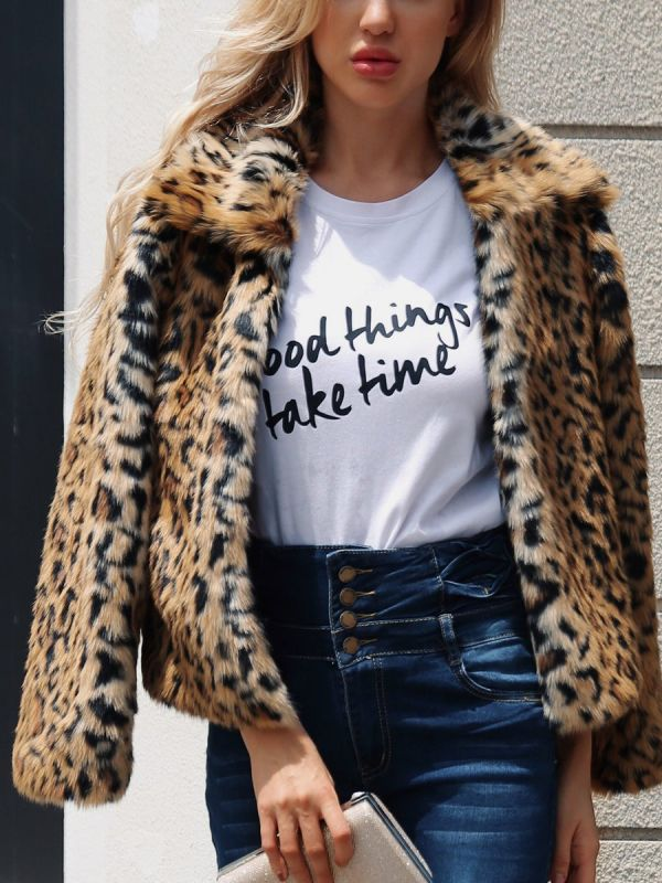 Brown Long Sleeve Leopard Print  Fur and Shearling Coat