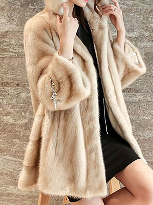 Beige Hoodie Fluffy  Pockets Fur and Shearling Coat
