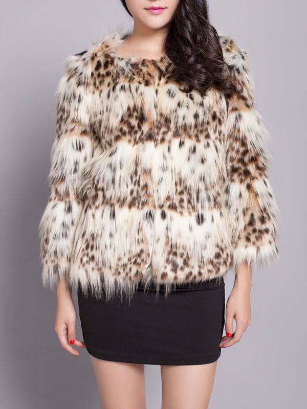 Beige Long Sleeve Shift Fluffy Faux Fur Fur and Shearling Coat