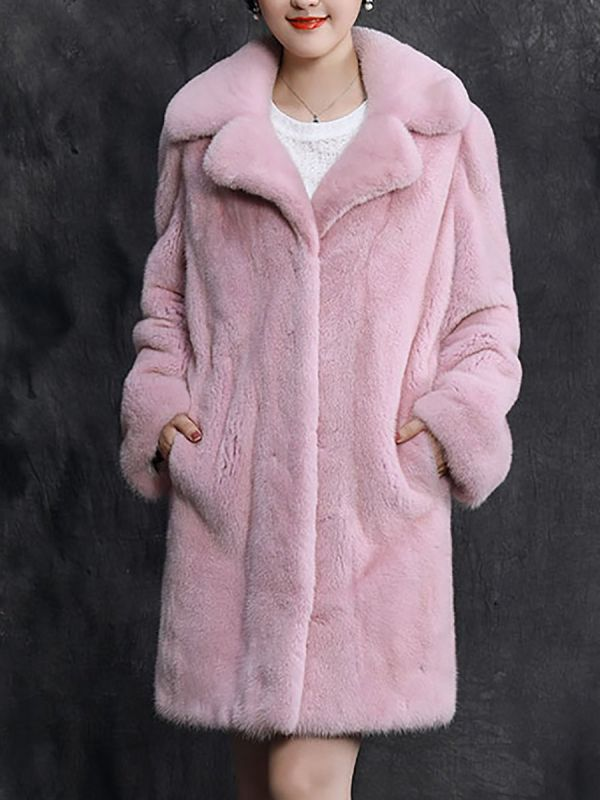 Shawl Collar Casual Long Sleeve Fur and Shearling Coat