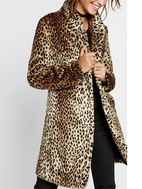 Brown Shawl Collar Leopard Print Fur and Shearling Coat