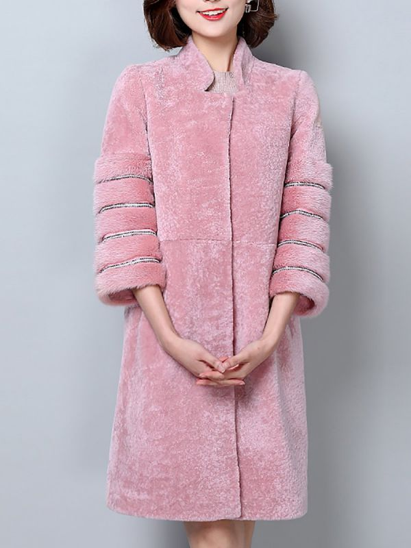 Long Sleeve Pockets Casual Solid Fur and Shearling Coat