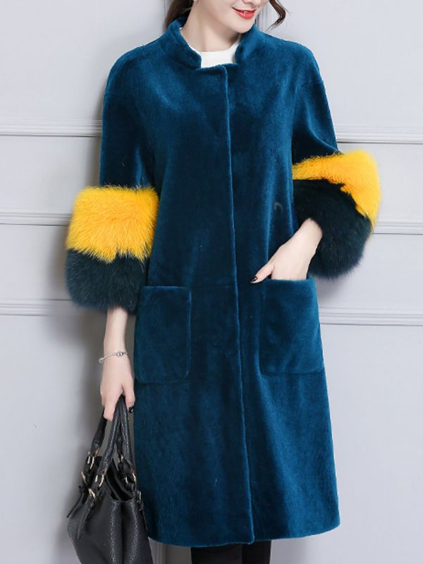 Embroidered Paneled Fur and Shearling Coat