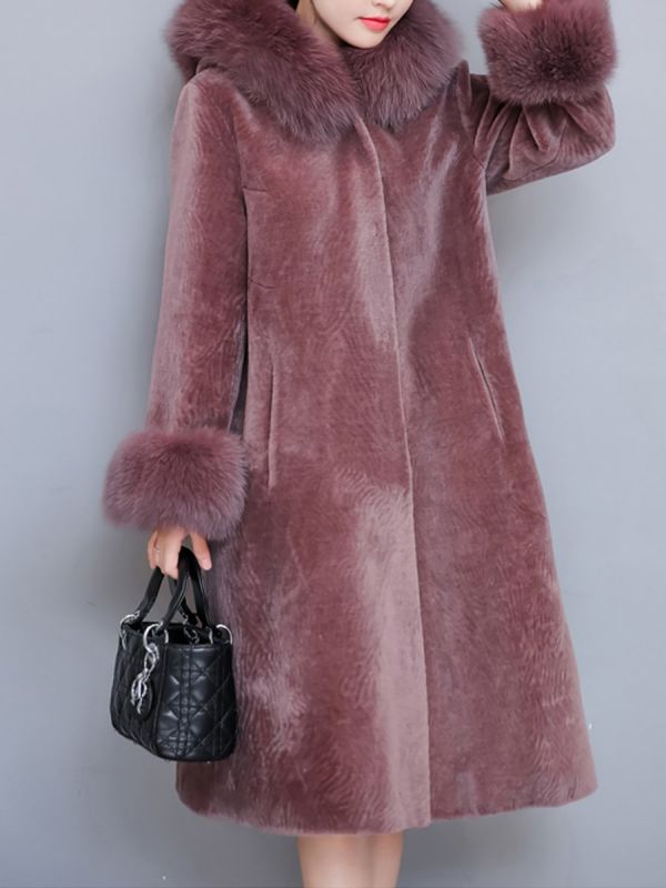 Casual Long Sleeve Hoodie Fur and Shearling Coat
