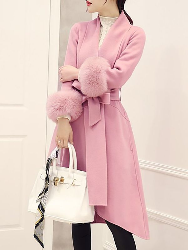 High Low Bow Asymmetric Solid Fur And Shearling Coats