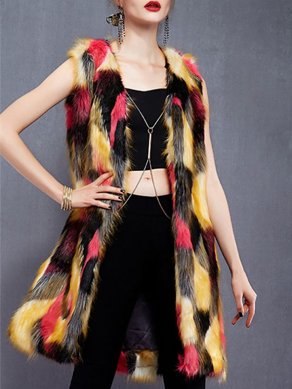Red Sleeveless Color-block Fluffy  Fur and Shearling Coat