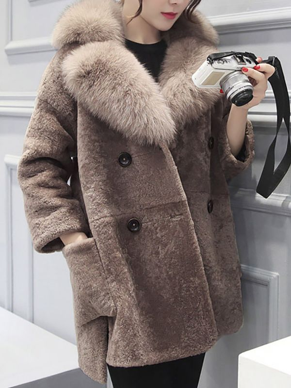 Fluffy Paneled Buttoned Pockets Fur and Shearling Coat