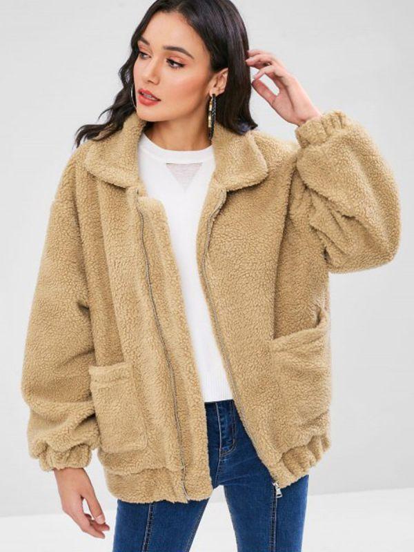 Camel Pockets Zipper Fur and Shearling Coat