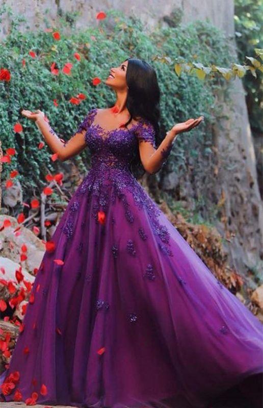 Delicate Long Sleeve Lace Appliques A-line Long Evening Gown