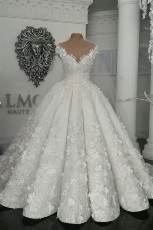 2021 Luxury Sleeveless Crystal Wedding Dresses   Sheer Tulle Flowers Bridal Gowns with Beading BC0708