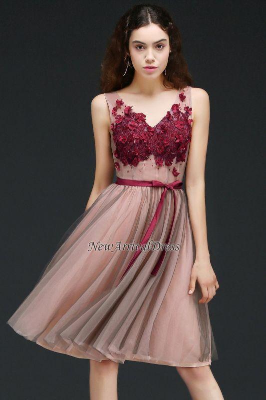 Sash V-Neck Open-Back A-line Burgundy-Flowers Romantic Homecoming Dresses