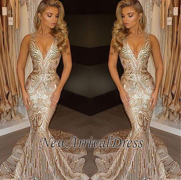 733b42b2ce64 Champagne Gold V-neck Sleeveless Mermaid Sexy Deep Sequins Evening Gown  [Item Code: B152274180450280]