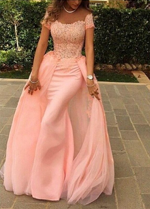 Pink Lace Short Sleeves Prom Dresses Off Shoulder Removable Train Evening Gowns