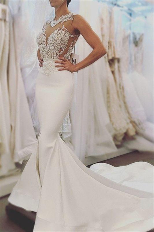 Sexy Mermaid Sleeveless Wedding Dresses |Open Back Wedding Dresses Online Cheap