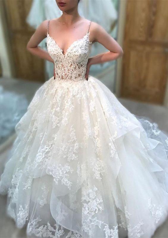 Elegant Spaghetti-Straps Lace Wedding Dresses | Sleeveless A-line Appliques Bridal Gowns