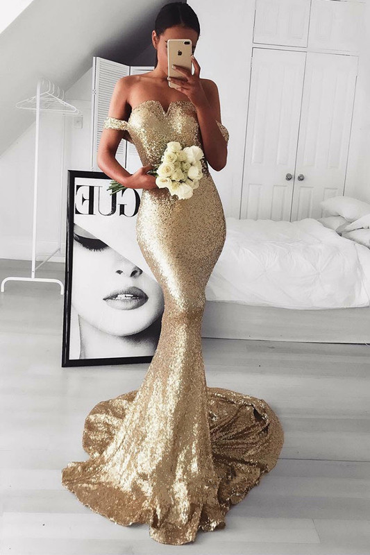 Gold SequinsProm Dress | Mermaid Off-the-Shoulder Evening Gowns BA9499