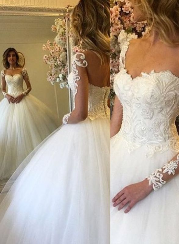 Princess Puffy Tulle Long Sleeve Lace Appliques Ball Gown Wedding Dresses