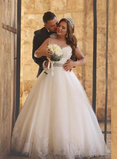 A-Line Crystal Floor Length Bridal Dress Crew Neck Plus Size Lace Wedding Dresses