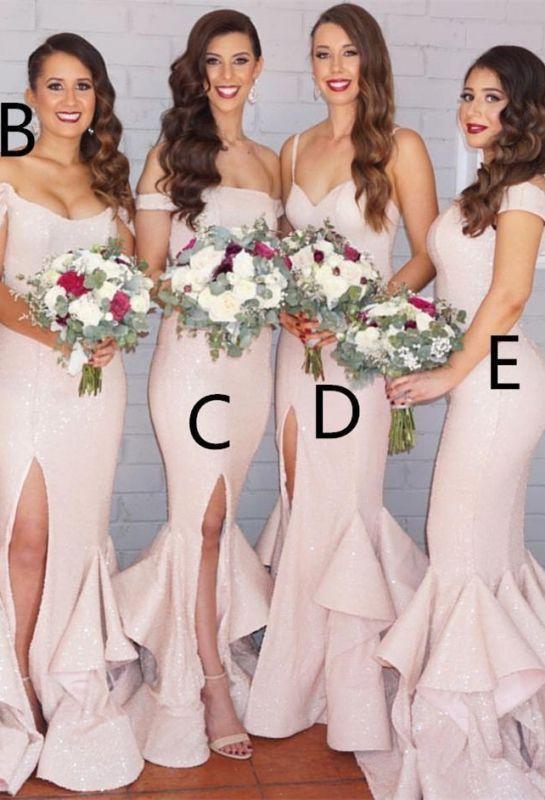 Modest Pink Mermaid Spaghetti Strap Bridesmaid Dress   Bridesmaid Dress Online
