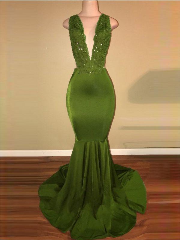 Criss-Cross Sexy Straps Beaded Mermaid Appliques Sleeveless Green Lace Elegant V-Neck Long Prom Dresses Cheap BA7993