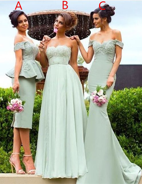 Gorgeous Off-the-Shoulder Lace Mermaid Bridesmaid Dress
