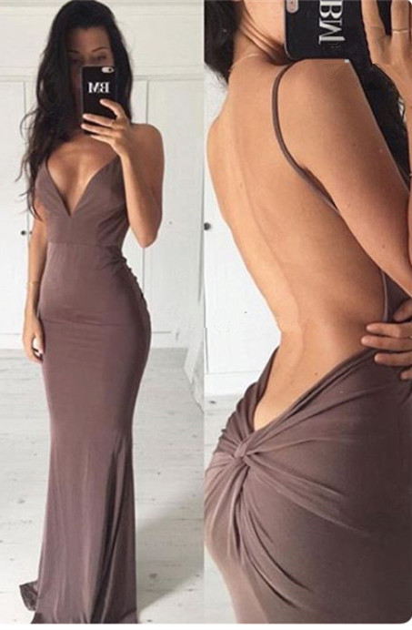 Sexy Backless Close-fitting Long Summer Dress New Spaghetti Strap Party Gowns BA3549