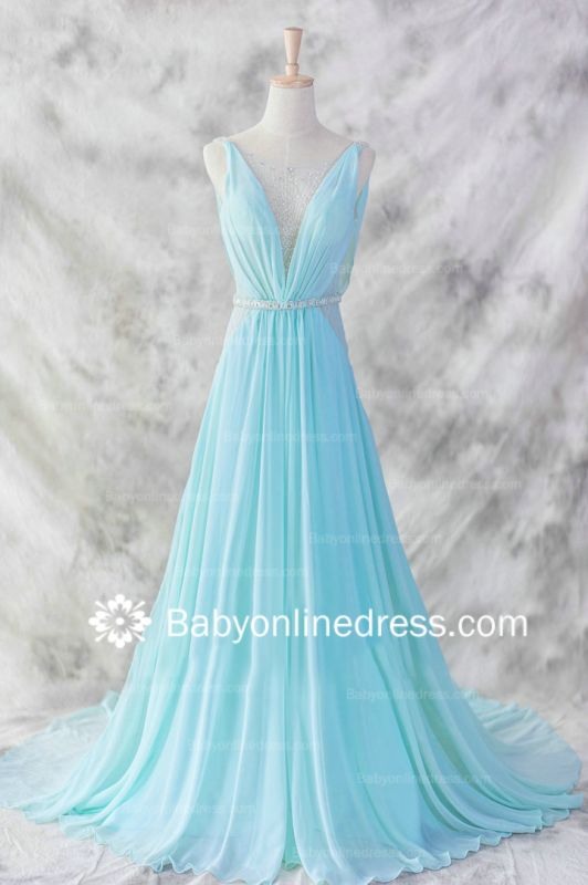 A-Line Straps Beadings Evening DressesSweep Train Prom Gowns with Sash