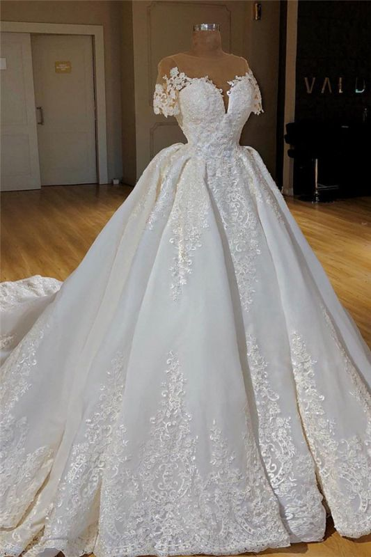 Short Sleeves Lace Appliques Wedding Dresses 2019 | Ball Gown Chapel Train Princess Bridal Gowns Cheap