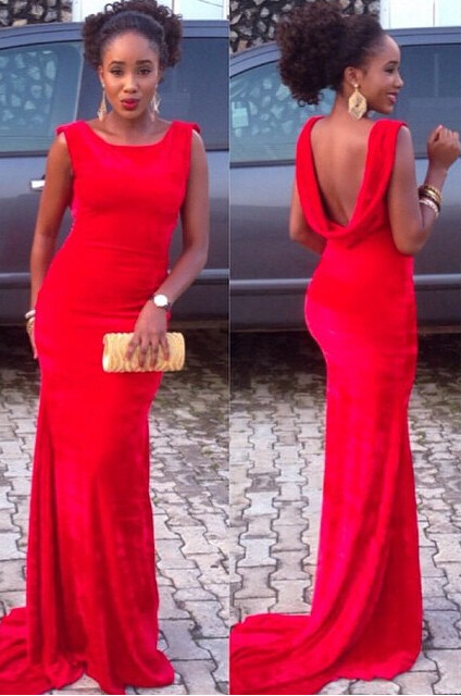 Red Mermaid Backless Prom DressesCustom Made Sweep Train Evening Gowns