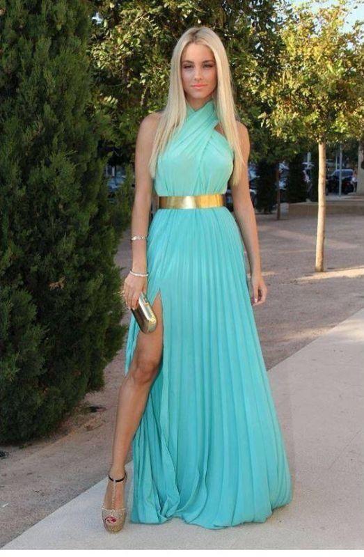 34889a836c3 Light Blue Prom GownsHalter Chiffon Sleeveless Gold Sash Side Slit Sexy  Floor Length A Line Evening Dresses BO6305  Item Code  D153431347030693