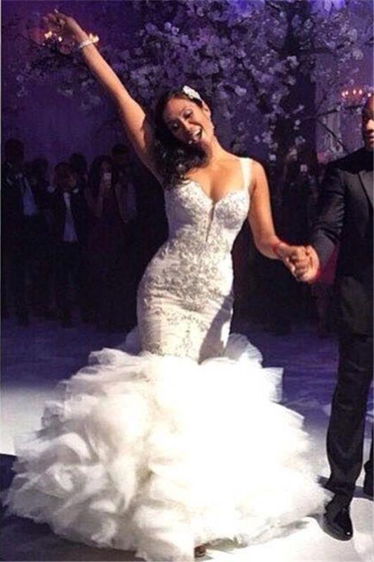 Ruffles Mermaid Sexy Spaghetti Straps Crystals Tulle Luxurious Wedding Dress Cheap