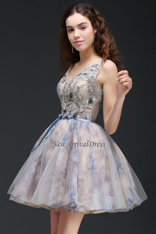 Straps Belt Flowers Sleeveless Cute Short Lace-up Homecoming Dress