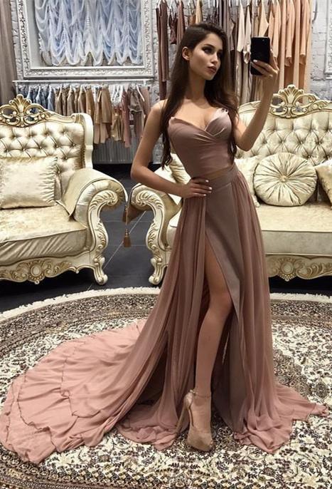 Elegant Sweetheart Sleeveless MermaidProm Dress Chiffon With Slit BA9180