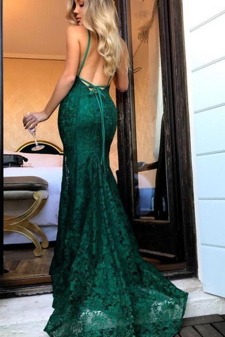 ddb3317b3b4 Green lace prom dress