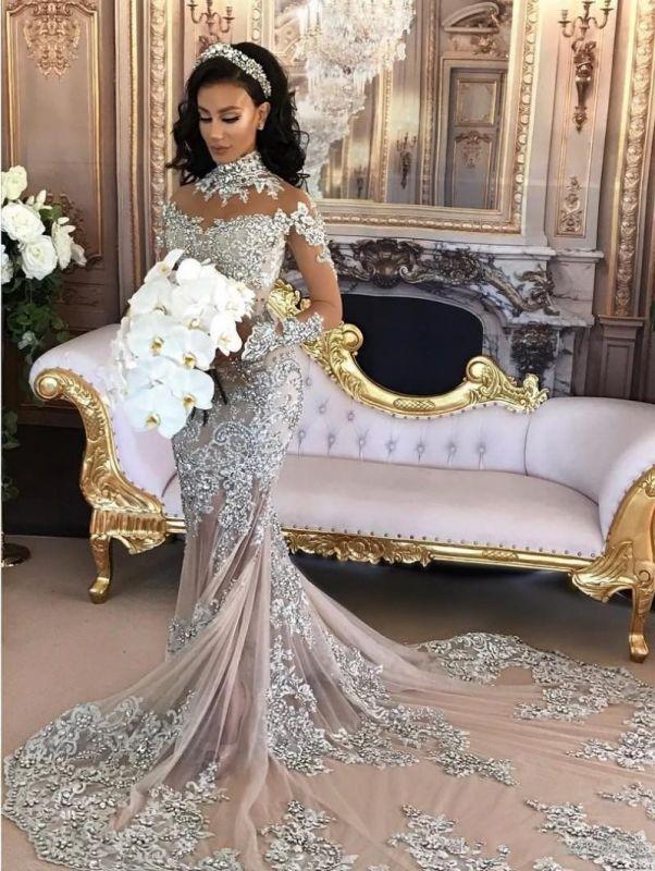 Hermosos vestidos de novia de sirena de cuello alto de plata de lujo de manga larga de encaje