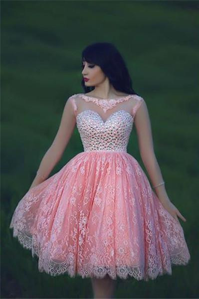 c87571684 Sheer Lace Crystals Short Homecoming Dresses Pink Sweetheart Neck Long  Sleeves Hollow Backless Mini Prom Dresses [Item Code: PD138]